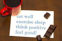 Think positively , exercise, eat well, sleep - concept feel good Royalty Free Stock Photography