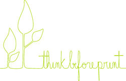 Think Before Print. A line depicts leaves of a small plant and the sentence 'think before print' to allure to people who print documents etc Royalty Free Stock Photography