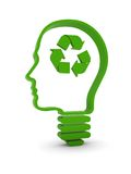 Think About Recycling. Light bulb / human head with recycling symbol. Part of a series Stock Photo