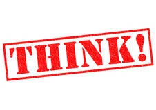 THINK!. Red Rubber Stamp over a white background Stock Photo