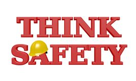 THINK SAFETY 3D Text - Red with Yellow Hardhat. Bold, red text reads `THINK SAFETY` with a shiny, yellow hardhat resting on the `A` and isolated on a white royalty free illustration