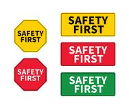 Think safety first logo, icon, symbol. Vector eps sign. Safety First octagonal and rectangular shape. Industrial sign. Yellow stock illustration