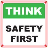 Think about safety. Industrial symbol - think safety first Stock Photo