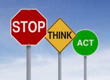 Think Safety. Modified road signs with a safety concept Royalty Free Stock Photography