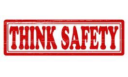 Think safety. Stamp with text think safety  inside,  illustration Stock Images