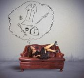 Think about shopping. Fashion girl on sofa think about shopping royalty free stock photos