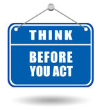 Think before sign vector illustration
