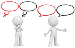 Think and Speech Bubbles. The Dude with Think and Speech Bubbles. Black and red version, Copy space Stock Photography