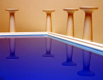 The Think Tank - corner view. Pool and columns set the seen stock illustration