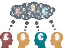 Think tank, heads thinking about money. Vector. Think tank, heads thinking about different currencies, euros and libras and dollars. Vector Royalty Free Stock Photos