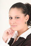 Think time. Manageress takes a think right now stock image