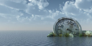 Think about time. Stone clock at the ocean - 3d illustration Royalty Free Stock Image