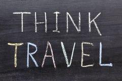Think travel. Concept phrase handwritten on the school blackboard royalty free stock photography