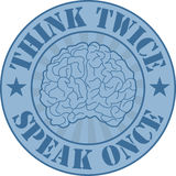 Think twice badge Stock Images
