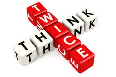 Think twice buzzword in red and white Stock Photos