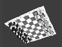 Think unconventionally. Black and white photo of liquified chessboard upside down stock photography