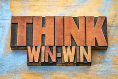 Think win-win word abstract in wood type Royalty Free Stock Photography