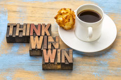 Think win-win word abstract in wood type Stock Images