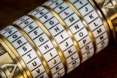 Think word as password. Think word as a password to combination puzzle box with rings of letters stock images