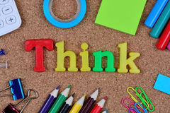 Think word on cork. Background royalty free stock photo