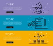 Think. Work. Worth. Flat line vector web banners set Stock Photography