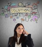 Think working solution. Businesswoman thinking about a plan working solution Stock Photos