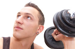 Think and workout. Portrait of a athlete while his morning workout Royalty Free Stock Images