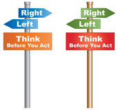 Think Before You Act. At a decisive moment. Conceptual signboard about human behaviours. Vector, EPS10 Stock Image