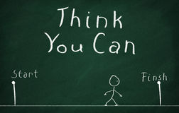 Think You Can. On the blackboard draw character and write Think You Can Stock Photography