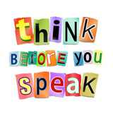 Think before you speak. Illustration depicting cutout printed letters arranged to form the words think before you speak Royalty Free Stock Images