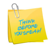 Think before you speak post illustration design Stock Images