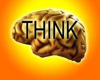 Think With Your Brain. A conceptual about intellect featuring a brain Stock Photography