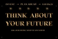 Think about your future - invest - plan ahead - savings vector illustration