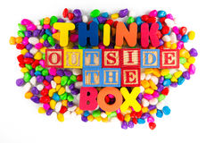 Thinkd outside the box word in colorful stone Royalty Free Stock Photo