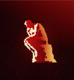 Thinker. Vector thinker on dark red background stock illustration