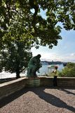 The Thinker. Auguste Rodins sculpture The Thinker on Waldermarsudde in Stockholm Stock Photography