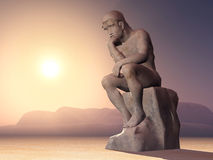 The Thinker. Computer generated 3D illustration with a Thinker stock illustration