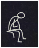 The Thinker. Primitive handmade drawing. Stock Images