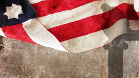 Thinker shadow on concrete. Usa Flag Stock Photo