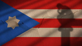 Thinker Shadow on puerto Rico Flag and Concrete Wall Stock Images