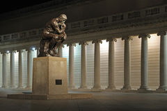 The Thinker statue at night Royalty Free Stock Image