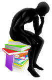 Thinker thinking sitting on books. A person thinking in thinker pose while sitting on a pile of books concept illustration Royalty Free Stock Photos