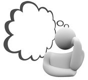 Thinker Thought Cloud Question Thinking Person Wondering Daydrea. Thinker or thinking person with a thought cloud wondering or daydreaming on a plan, question vector illustration