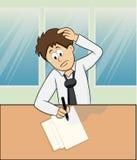 Thinkin do trabalhador dos desenhos animados duramente Imagem de Stock