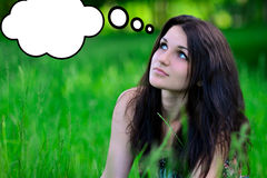 Attractive,cute,thoughtful,dreaming girl look aside,think about something.