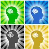 Thinking. Symbol of thinking gear on shiny backgrounds Stock Photo
