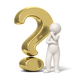 Thinking 3d guy - Gold question mark. 3d guy thinking in front of a big gold question mark Stock Images