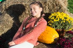Free Thinking About. Small Girl Big Pumpkin. Ready For Halloween. Autumn Time. Cheerful Kid Dried Flower. Fall Composition Stock Photos - 162241923