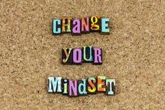 Change your mindset attitude. Thinking adjustment change your attitude improvement improve letterpress learning education process adapt adaptation happy royalty free stock image