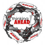 Thinking Ahead Words Thought Clouds Planning Anticipation Proact. Thinking Ahead words in thought clouds to illustrate proactive planning and anticipation Royalty Free Stock Images